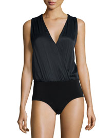 Cross-Back Zip-Trim Surplice Bodysuit, Black