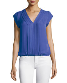 Marcher V-Neck Top with Pleated Front
