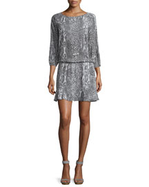 Arryn B 3/4-Sleeve Printed Dress, Dark Gray