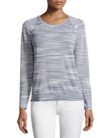 Daila Long-Sleeve Sweater, Porcelain/Nocturne