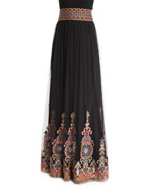 Savanna Embroidered Tulle Maxi Skirt, Black