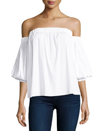 Off-the-Shoulder Stretch-Cotton Blouse, White