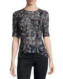 Short-Sleeve Sheer Floral Silk Blouse, Black