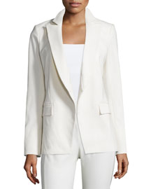 Palm Belted Open-Front Jacket, White