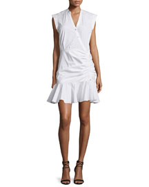 Fountain Sleeveless Ruched Button-Front Dress, White