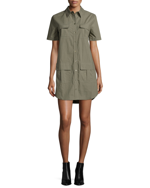 Equipment Remy Short-Sleeve Utility Shirtdress, Dusty Olive, Size: S