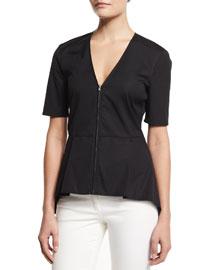 Meyers Silk Zip-Front Peplum Top, Black