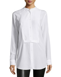 Mandel Bright Button-Front Top, White