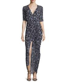 Mariposa Floral Midi Dress, Black