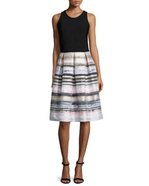 Sleeveless Striped-Skirt Dress, Black/Blush