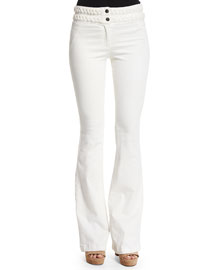 Biscayne Braided-Waist Boot-Cut Jeans, White