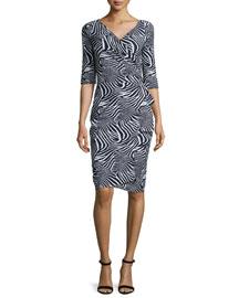 3/4-Sleeve Zebra-Print Ruffle-Front Dress