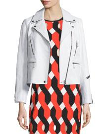 Arrow Leather Zip-Trim Jacket, White