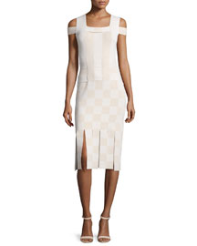 Cold-Shoulder Basketweave Sheath Dress, Sycamore