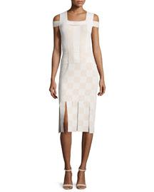 Cold-Shoulder Basketweave Sheath Dress, Sycamore