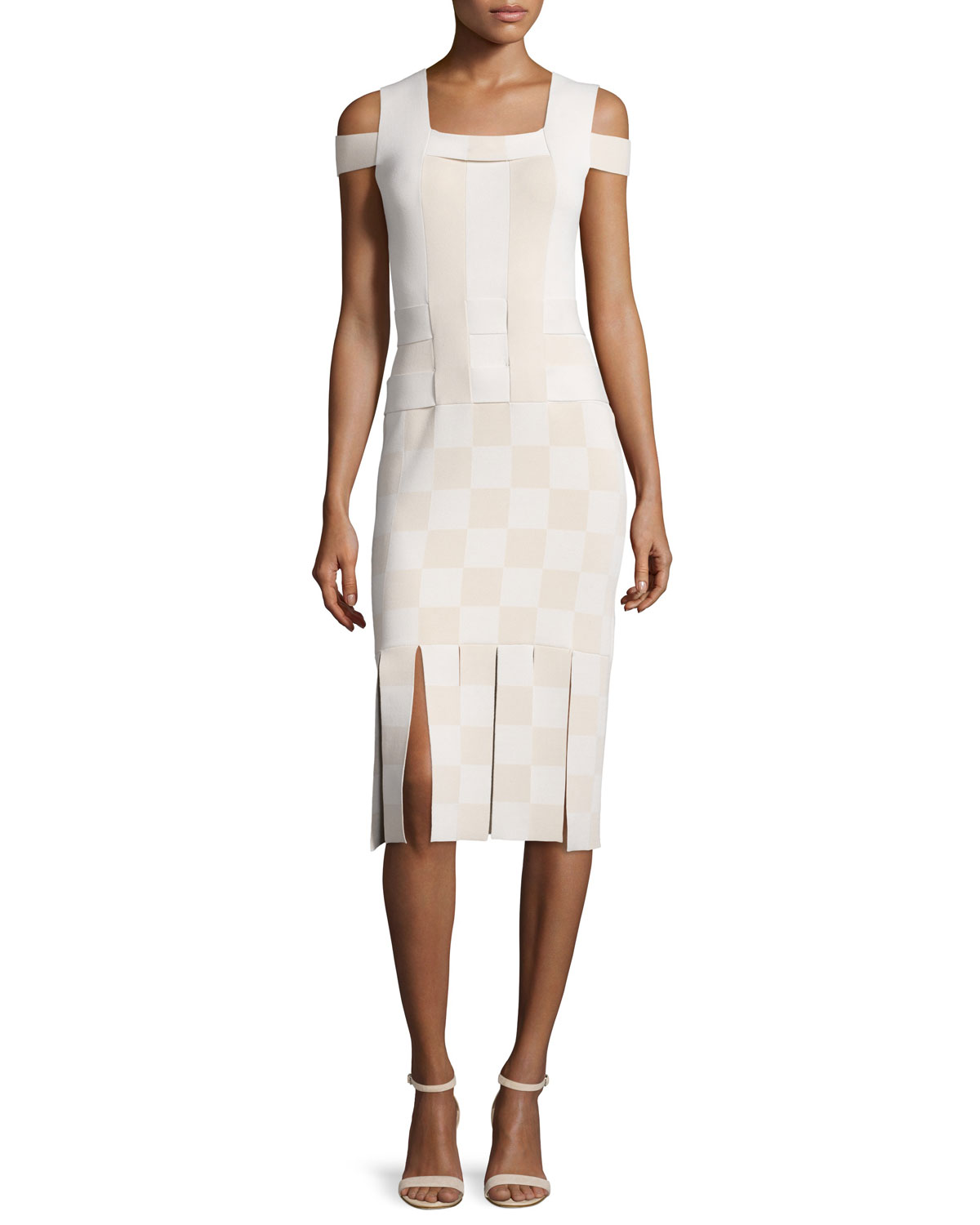 Opening Ceremony Cold-Shoulder Basketweave Sheath Dress, Sycamore, Size: M, Sycamore Multi