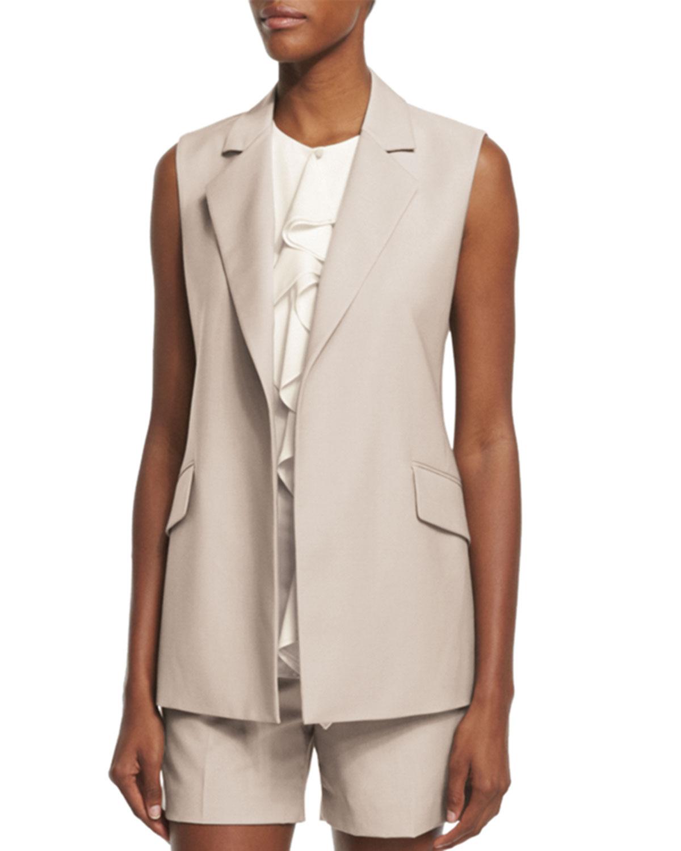 Theory Sedeia Continuous Wool-Blend Vest, Gray Khaki, Size: 0, Grey Khaki