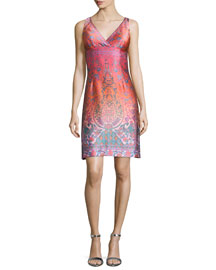 Sleeveless Jacquard Cocktail Shift Dress