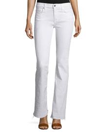 Boot-Cut Jeans W/Released Hem, White
