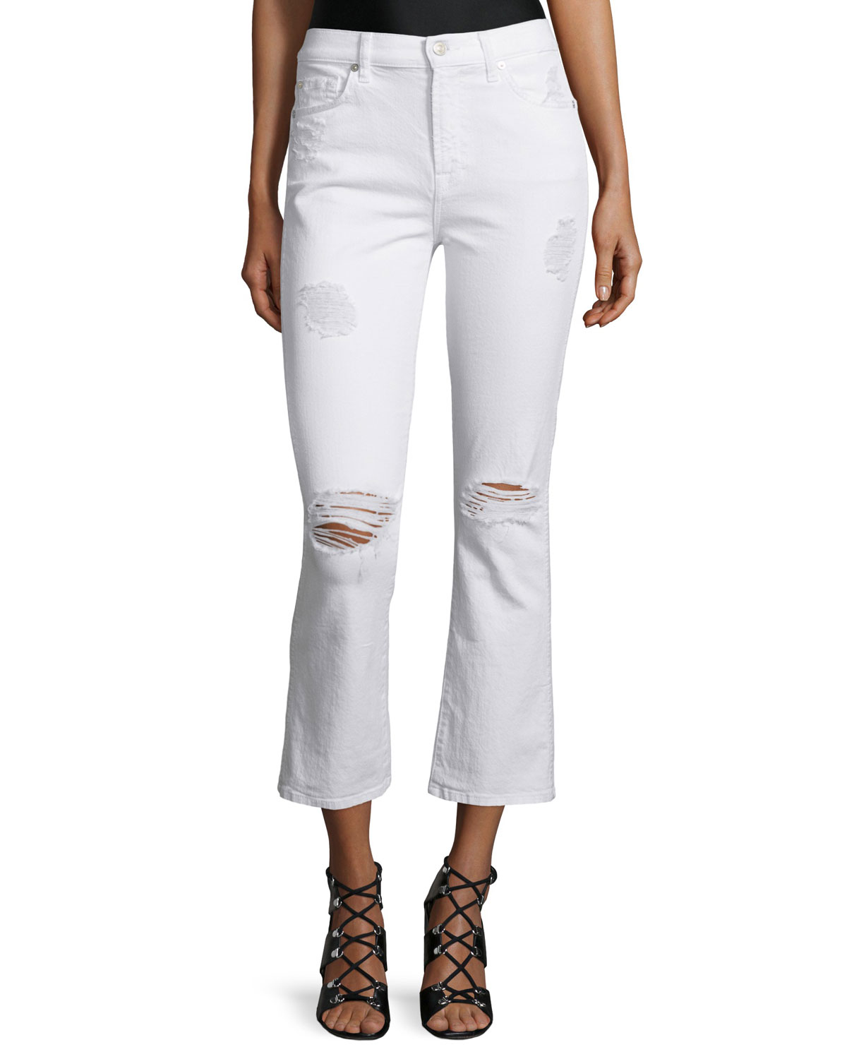 7 For All Mankind Mid-Rise Cropped Boot-Cut Jeans, Clean White 3, Size: 27