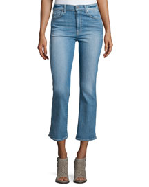 Mid-Rise Boot-Cut Cropped Jeans, Stretch Coronado