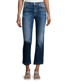 Boot-Cut Cropped Jeans W/Released Hem, Bright Indigo