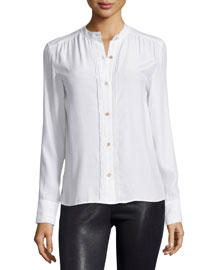 Le Pleated Button-Front Blouse, Blanc