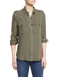 Le Military Long-Sleeve Shirt, Military Green