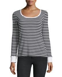 Le Boat-Neck Long-Sleeve Striped Top, Noir
