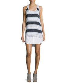 Aventura Striped Racerback Tank Dress, Navy/Sky/White