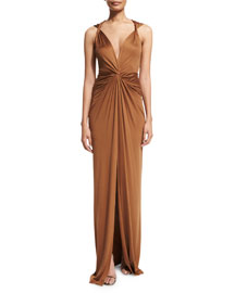 Dragonfruit Silk V-Neck Maxi Dress, Bronze