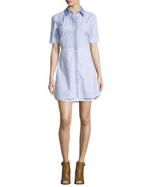 Ginger Striped A-Line Shirtdress, Blue/White