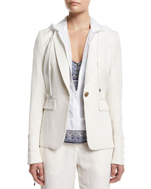 Prairie Linen-Blend Jacket with Parka Combo, Ivory