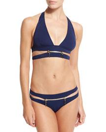X-Type Zipper Two-Piece Bikini, Navy