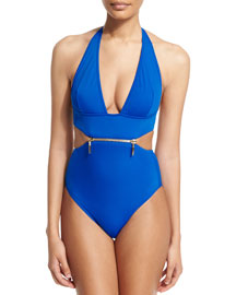 X-Type Zip-Front One-Piece Swimsuit
