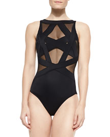 Esther Strappy Mesh One-Piece Swimsuit, Black
