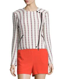 Mara Striped Tweed Motorcycle Jacket, Multicolor