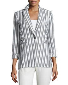 Beatriz Striped Bracelet-Sleeve Jacket, Black/White