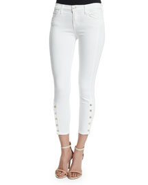 Suvi Mid-Rise Utility Cropped Jeans, White