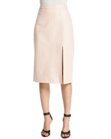 Gigi Leather Midi Skirt, Light Pink