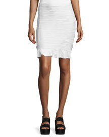 Wavy Stripe Pencil Skirt, White