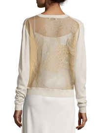 Embroidered Knit Cardigan, Sycamore