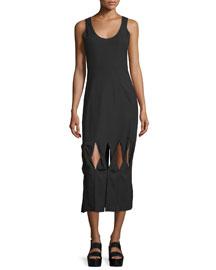 Glide Twist-Front Midi Dress, Black