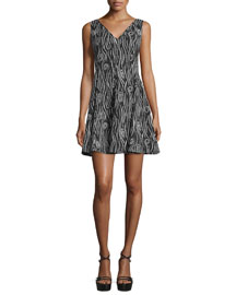 Laurel Jacquard Fit-and-Flare Dress, Black
