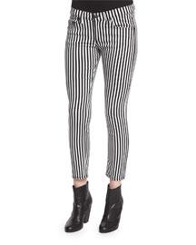 Bengal Striped Capri Jeans, Black/White Stripe