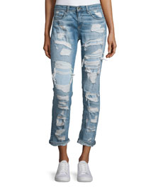 Dre Distressed Slim-Leg Cropped Jeans, Brigade