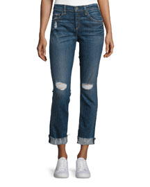 Dre Mid-Rise Distressed Cropped Jeans, Mabel