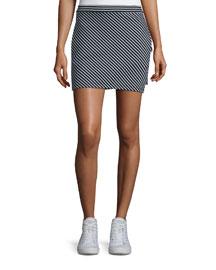 Mod Skinny-Striped Mini Skirt, Black/White