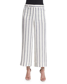 Livdale Wide-Leg Striped Linen Pants