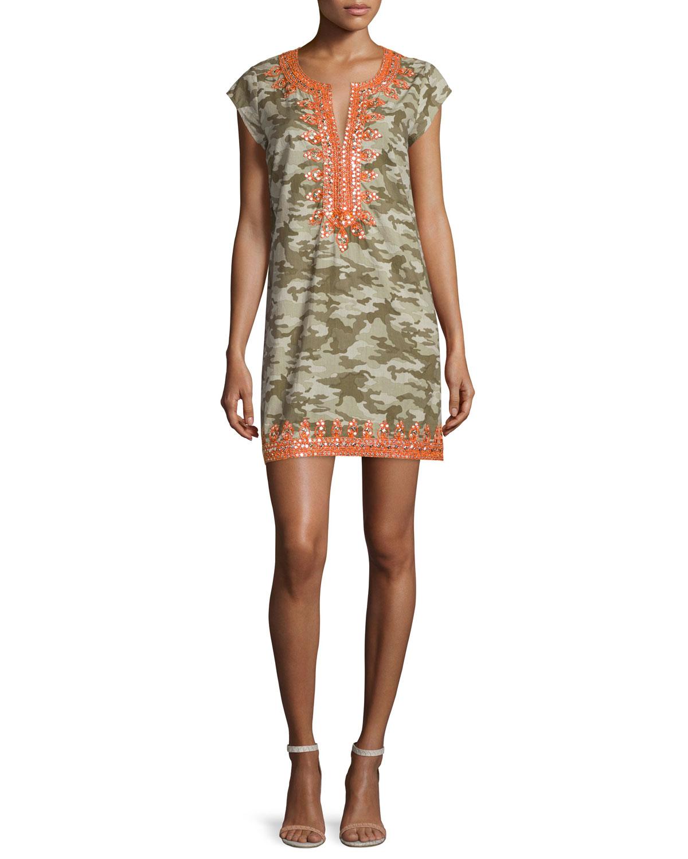 Calypso St. Barth Malka Embellished Sheath Dress, Camo (Green), Size: S